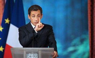 Nicolas Sarkozy lors de son discours à la 18e conférence des ambassadeurs le 25 août 2010 à l'Elysée.