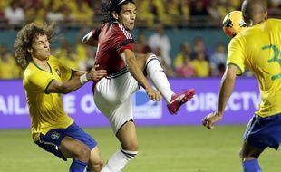 David Luiz s'est blessé lors du match amical Brésil-Colombie (1-0), le 5 septembre 2014 à Miami.