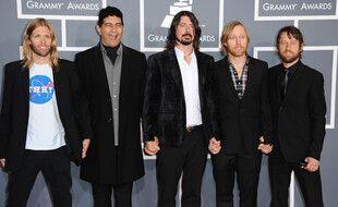 Les membres du groupe Foo Fighters. De gauche à droite: Taylor Hawkins, Pat Smear, Dave Grohl, Nate Mendel et Chris Shiflett