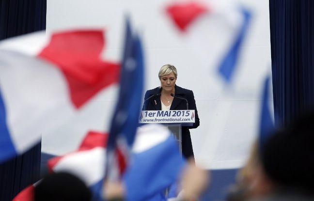 Marine Le Pen lors de son discours du 1er mai 2015, place de l'Opéra à Paris. - K. TRIBOUILLARD