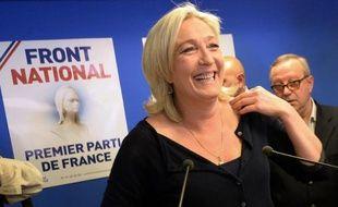 Marine Le Pen au siège du FN le 25 mai 2014 à Nanterre