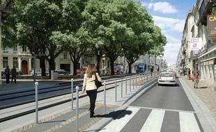 Image de synthèse de la future ligne D du tramway de Bordeaux, au niveau de la place Charles Gruet