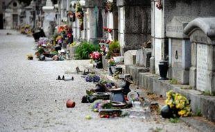 Crucifix, pots de fleurs renversés jonchent le sol du cimetière Saint-Roch à Castres, le 15 avril 2015, après un acte de vandalisme