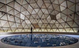 """""""Clinamen v2"""", oeuvre de l'artiste Celeste Boursier-Mougenot's sera visible sous le dome installé place Antonin Poncet lors de la 14e biennale d'art contemporain de Lyon. Jeff Pachoud/ AFP"""