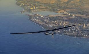 André Borschberg se pose à Hawaï en juillet 2015, aux commandes du «Solar Impulse 2».
