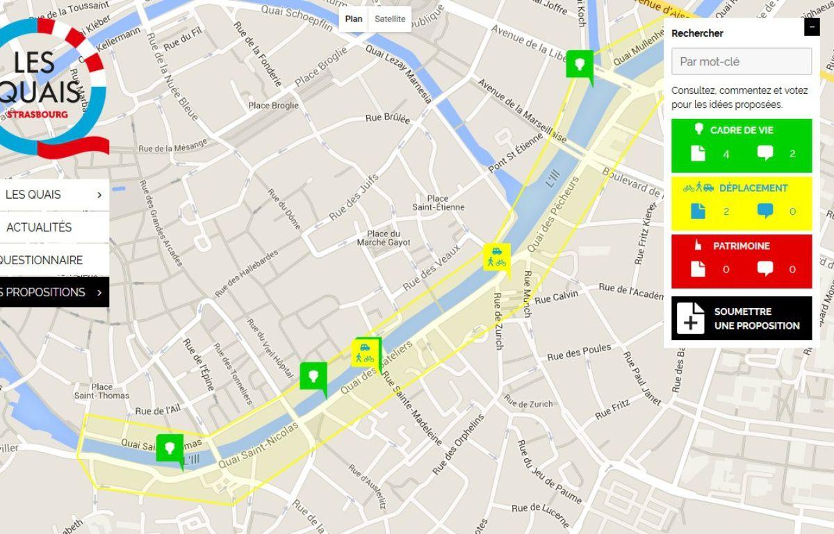 La carte interactive concernant les aménagements des quais.  – Strasbourg. eu capture d'écran