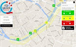 La carte interactive concernant les aménagements des quais.