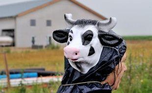 Une manifestante devant la ferme dite des 1.000 vaches, le 29 juin 2014 à Drucat (Somme)