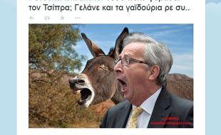Jean-Claude Juncker raillé sur Twitter en Grèce.