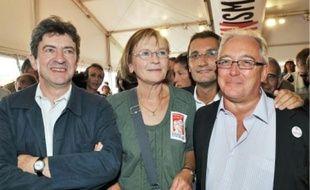 Jean-Luc Mélenchon, Marie-George Buffet et Christian Picquet, samedi à La Courneuve.