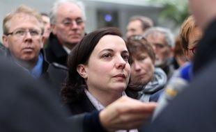 La ministre du Logement Emmanuelle Cosse, le 3 mars 2016 lors d'un déplacement à Rennes.