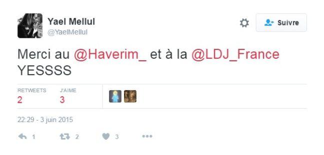 Tweet de Yael Mellul en soutien à la LDJ.