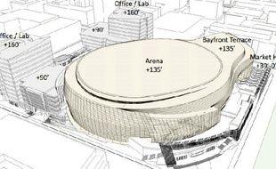 Une vue du projet de salle des Golden State Warriors.