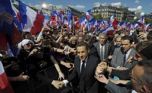 Nicolas Sarkozy le 1er mai 2012 lors d'un meeting au Trocadero.