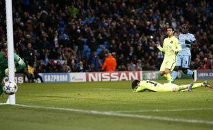 Lionel Messi rate un penalty lors du match entre Manchester City et le Barça le 24 février 2015.