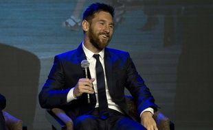 Lionel Messi lors d'une intervention publique à Shanghai, le 1er juin 2017.