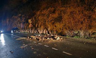 Un éboulement sur la route de Beynac, le 28 janvier 2021.