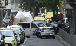 Des véhicules de police sur les lieux où s'est produite l'attaque à Liège, le mardi 29 mai.