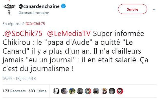 Tweet du Canard Enchaîné