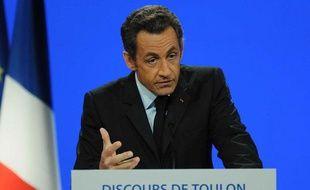 Nicolas Sarkozy lors du discours de Toulon, le 25 septembre 2008