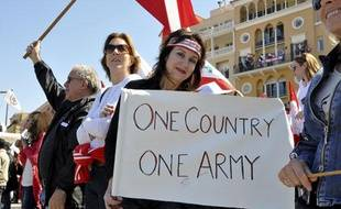 Une manifestation anti-Hezbollah, le 13 mars 2011 à Beyrouth.