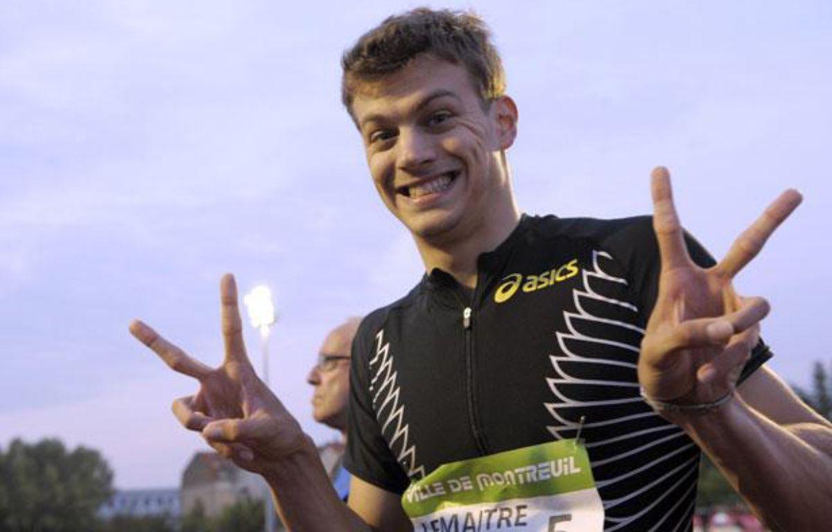 L'athlète français, Christophe Lemaître, lors de son record de France du 100m le 8 juin 2011. – B.Guay/AFP