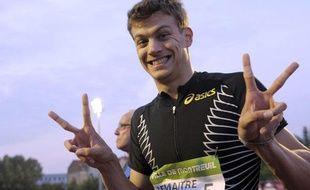 L'athlète français, Christophe Lemaître, lors de son record de France du 100m le 8 juin 2011.
