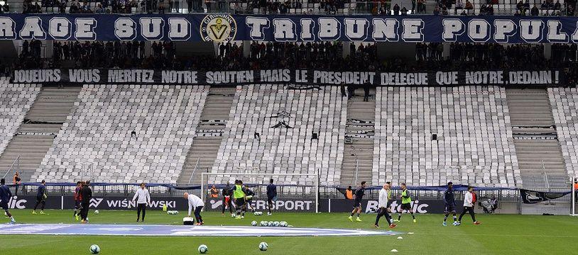 Le Virage Sud est resté vide toute la rencontre face à Saint-Etienne.