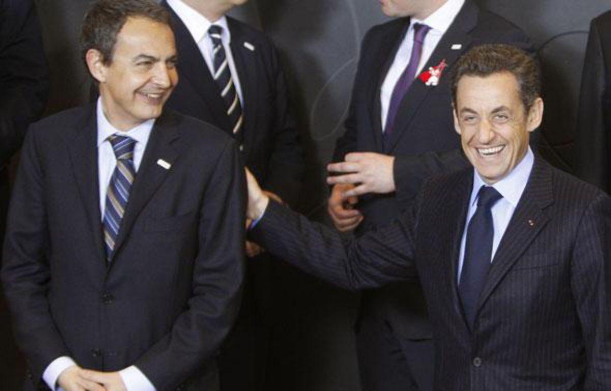 Jose Luis Zapatero et Nicolas Sarkozy, le 1er mars 2009 à Bruxelles. – REUTERS/Yves Herman