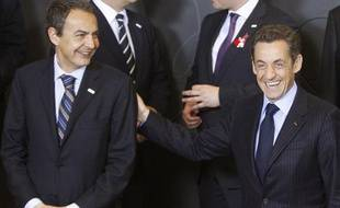 Jose Luis Zapatero et Nicolas Sarkozy, le 1er mars 2009 à Bruxelles.