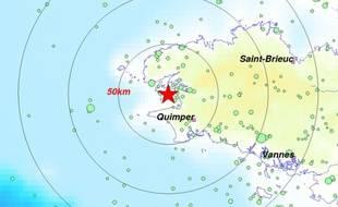 L'épicentre a été localisé près de la presqu'île de Crozon.