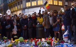 Rassemblement place de la Bourse à Bruxelles, le 25 mars 2016, quelques jours après les attentats.