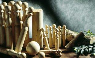 Illustration d'un jeu de quilles.
