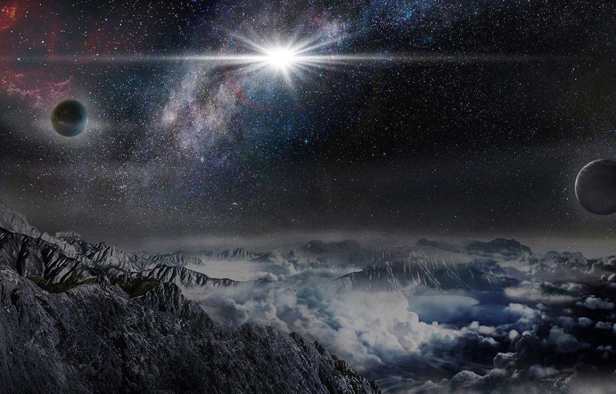 Vue d'artiste de la supernova ASAS-SN-15lh observée en juin 2015 au Chili. –  Sciencemag. org