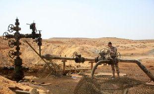 Un membre des forces syriennes près d'un puit de pétrole à proximité de Palmyre, en Syrie, après que la région a été reprise au groupe EI, le 9 mars 2015