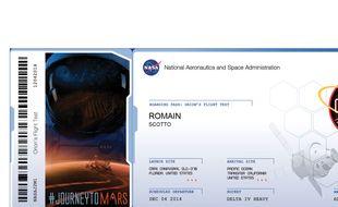 Un billet virtuel pour la planète Mars émis par la Nasa.