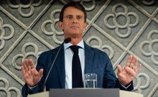 Manuel Valls lors de l'annonce de sa candidature à Barcelone, le 26 septembre 2018.