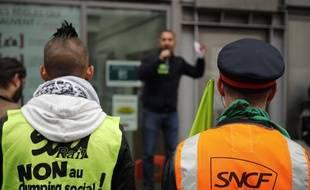 Des cheminots grévistes se rassemblent gare du Nord à Paris, en mai 2018 (Illustration).