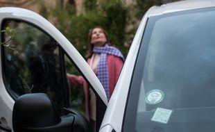 Ségolène Royal, ministre de l'Environnement, lors d'un événement presse pour marquer le cap du million de vignettes Crit'air commandées.