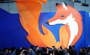 Le logo de Firefox, lors du congrès de la téléphonie mobile, à Barcelone, le 27 février 2014.