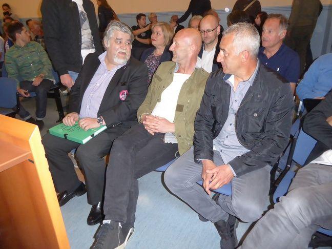Jérôme Ducros, Fabien Barthez et Christophe Rodriguez, les dirigeants de Luzenac lorsque le club était aux portes de la Ligue 2, le 25 avril 2017 au Tribunal administratif de Toulouse.