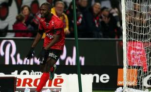 Le Guingampais Yannis Salibur après son but contre Toulouse, le 21 novembre 2015.