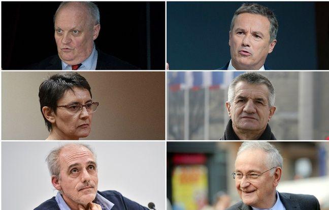 Les six candidats à la présidentielle recalés du débat de TF1 le 20 mars 2017.