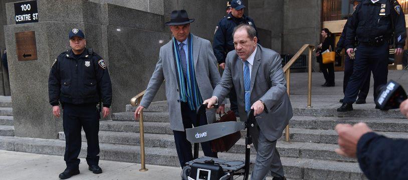 L'ancien producteur Harvey Weinstein, lors de son procès pour viol et agression sexuelle, à Manhattan