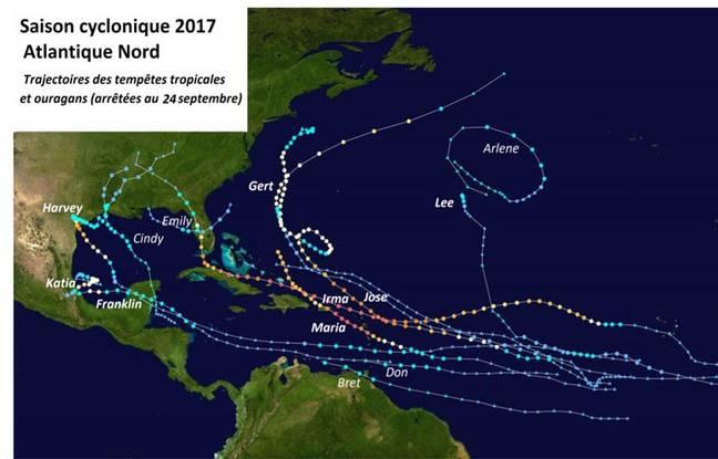La trajectoire des tempêtes tropicales et ouragans enregistrés en Atlantique nord entre début juin et le 24 septembre.