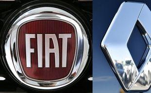 Les logos de Renault et Fiat.(MARCO BERTORELLO and LOIC VENANCE / AFP)