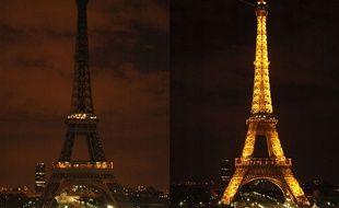 La tour Eiffel éteinte pendant Earth Hour.