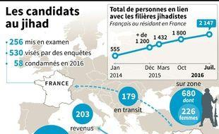 Données sur le nombre de candidats français ou résidant en France au jihad