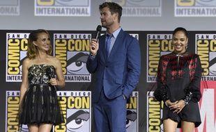 Natalie Portman, Chris Hemsworth et Tessa Thompson lors du Comic Con de San Diego.