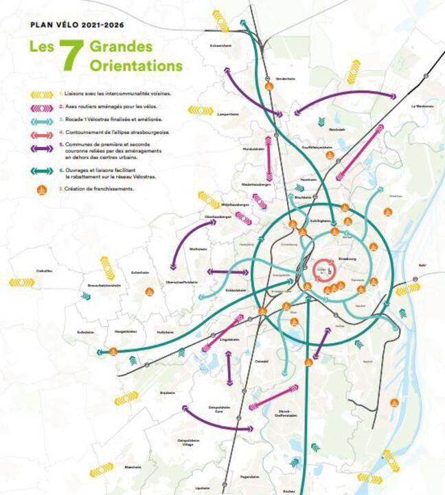 Le plan vélo présenté par l'eurométropole de Strasbourg.